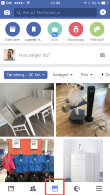 Facebook Marketplace på iPhone