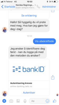 Nordea betaling via Facebook messenger 3
