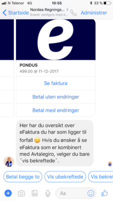 Nordea betaling via Facebook messenger 6