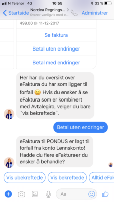 Nordea betaling via Facebook messenger 7