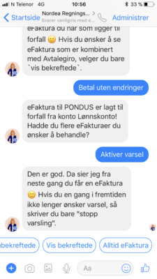 Nordea betaling via Facebook messenger 8