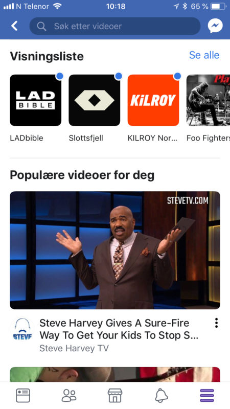 Facebook Watch på iPhone