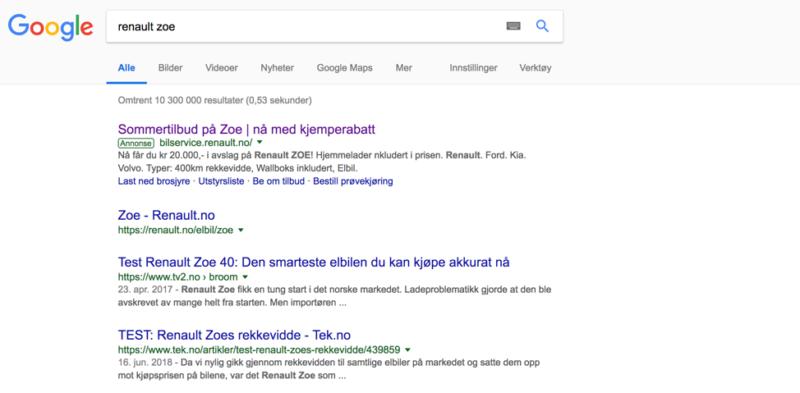 annonsering på google - google søk med resultater for renault zoe