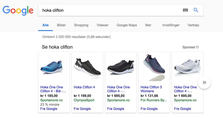 annonsering på google - google shopping etter hoka sko