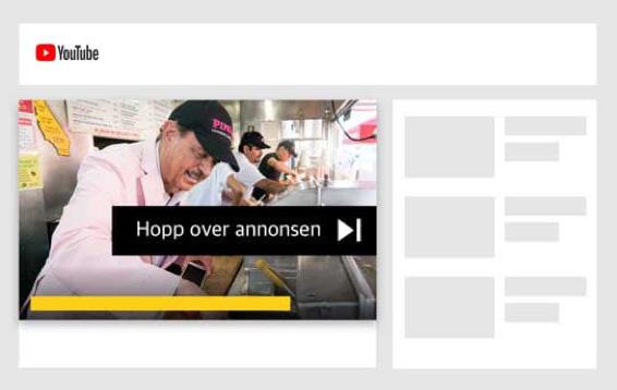 annonsering på google -banner som viser hvordan annonser på youtube ser ut