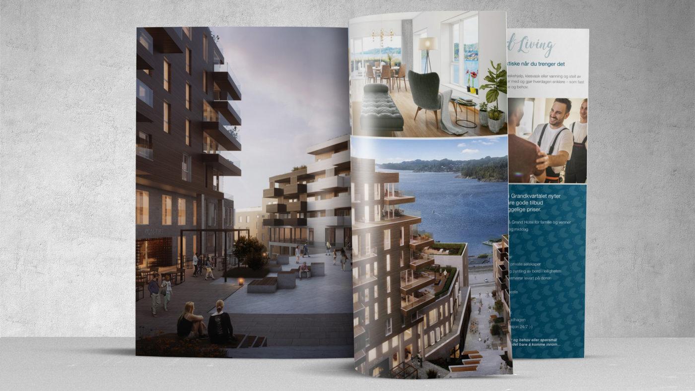 Grandkvartalet prospekt oppbladd side med bilder av leilighetene
