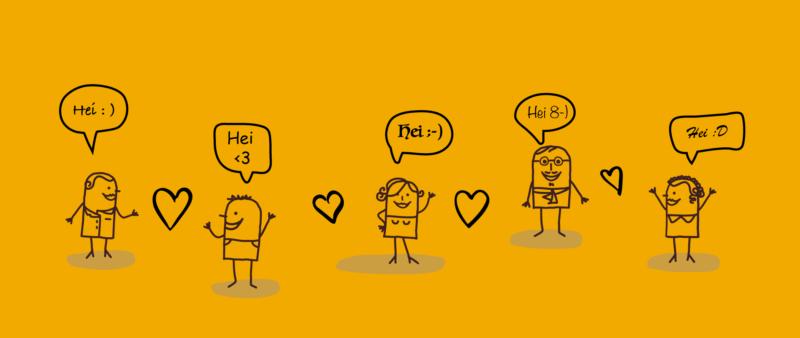 En tegning av fem personer som sier hei til hverandre i forskjellige fonter